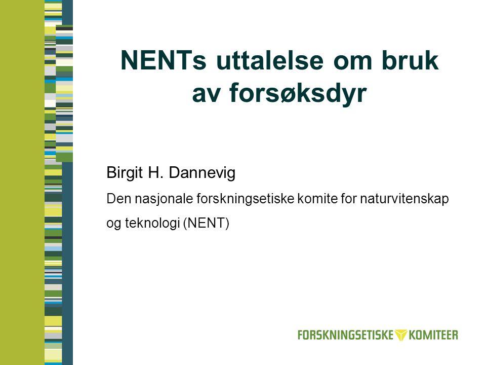 NENTs uttalelse om bruk av forsøksdyr Birgit H. Dannevig Den nasjonale forskningsetiske komite for naturvitenskap og teknologi (NENT)
