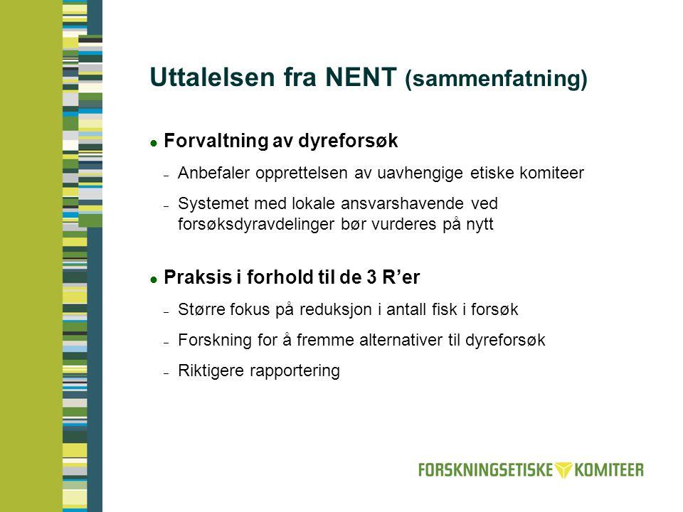 Uttalelsen fra NENT (sammenfatning)  Forvaltning av dyreforsøk – Anbefaler opprettelsen av uavhengige etiske komiteer – Systemet med lokale ansvarsha