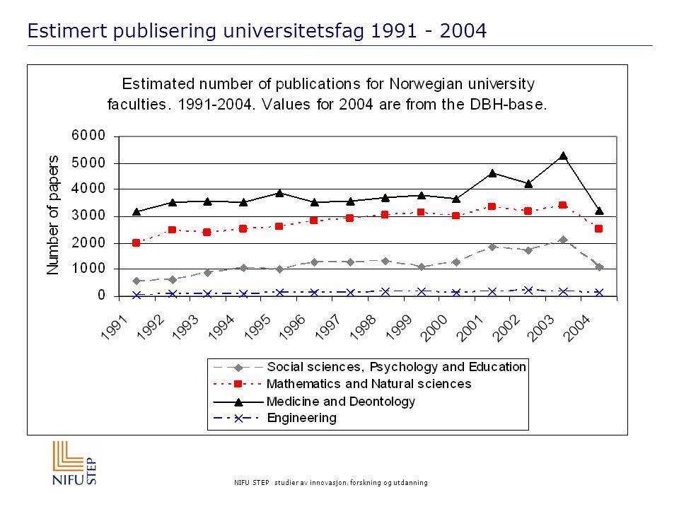 NIFU STEP studier av innovasjon, forskning og utdanning Estimert publisering universitetsfag 1991 - 2004