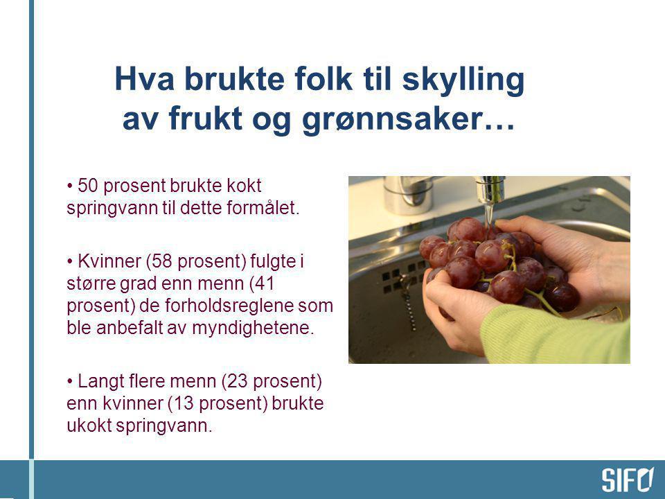 Hva brukte folk til skylling av frukt og grønnsaker… • 50 prosent brukte kokt springvann til dette formålet. • Kvinner (58 prosent) fulgte i større gr