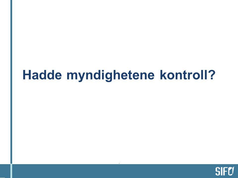 En sammenlikning: tillit til mat og til vannet (Jacobsen, 2003; vår undersøkelse 2007) Andel som svarte: det er svært trygt å spise : Hamburger fra gatekjøkken4 Pølser18 Oksekjøtt fra ferskvaredisken24 Oksekjøtt37 Økologisk oksekjøtt52 Andel som svarte: Helt enig i at vannet i Oslo er trygt å drikke 41