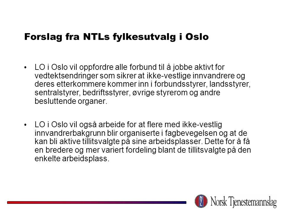 Forslag fra NTLs fylkesutvalg i Oslo • LO i Oslo vil oppfordre alle forbund til å jobbe aktivt for vedtektsendringer som sikrer at ikke-vestlige innva