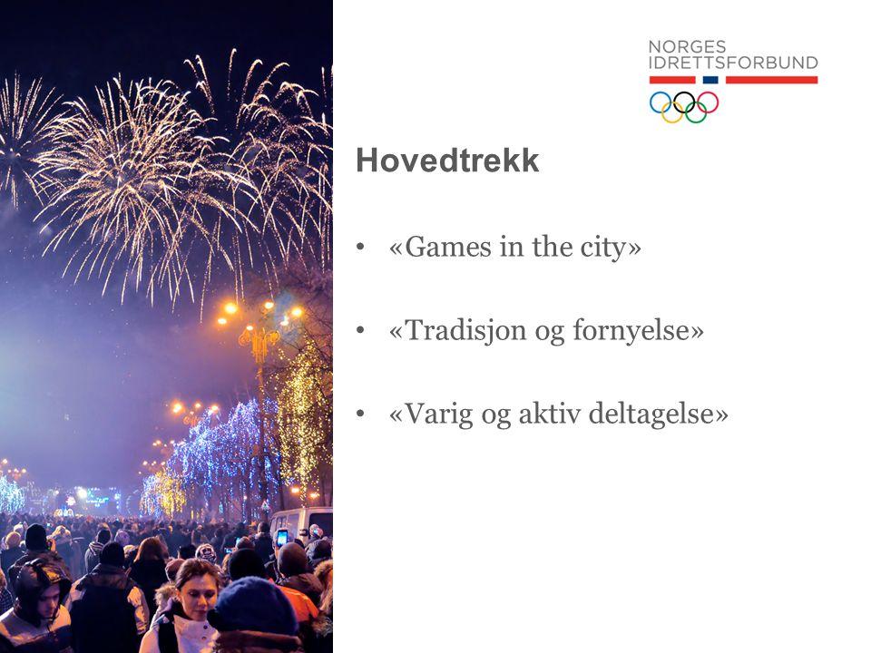 Hovedtrekk • «Games in the city» • «Tradisjon og fornyelse» • «Varig og aktiv deltagelse»