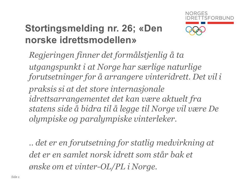 Side 2 Regjeringen finner det formålstjenlig å ta utgangspunkt i at Norge har særlige naturlige forutsetninger for å arrangere vinteridrett.