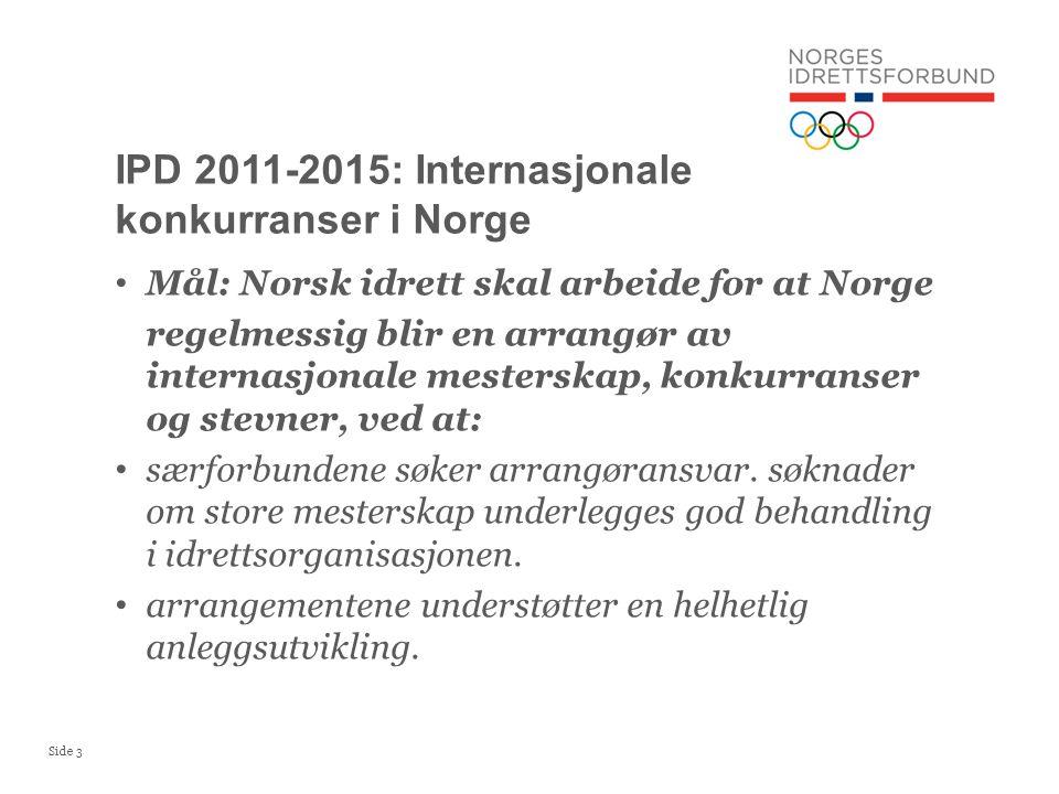 Side 3 • Mål: Norsk idrett skal arbeide for at Norge regelmessig blir en arrangør av internasjonale mesterskap, konkurranser og stevner, ved at: • særforbundene søker arrangøransvar.