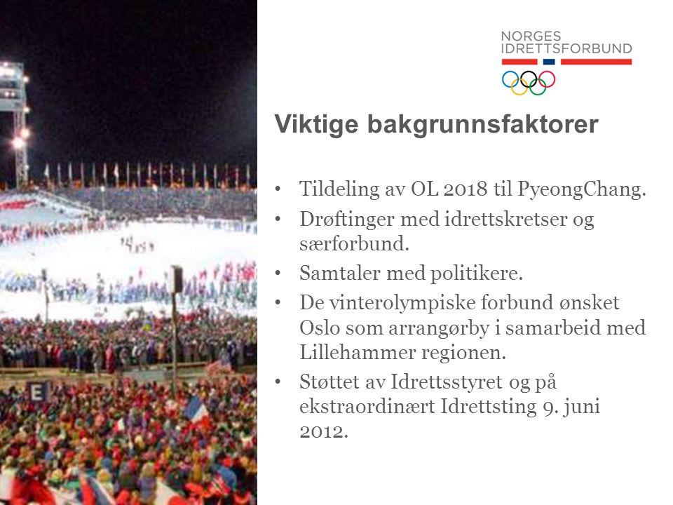 Avgjørende forutsetninger • At norsk idrett står samlet bak en søknad • At søknaden fremstår med en høy grad av troverdighet på bl.a.: - økonomi - etterbruk/bærekraft - samsvarer med overordnede planer for regional og nasjonal utvikling (infrastruktur, by- og region- utvikling)