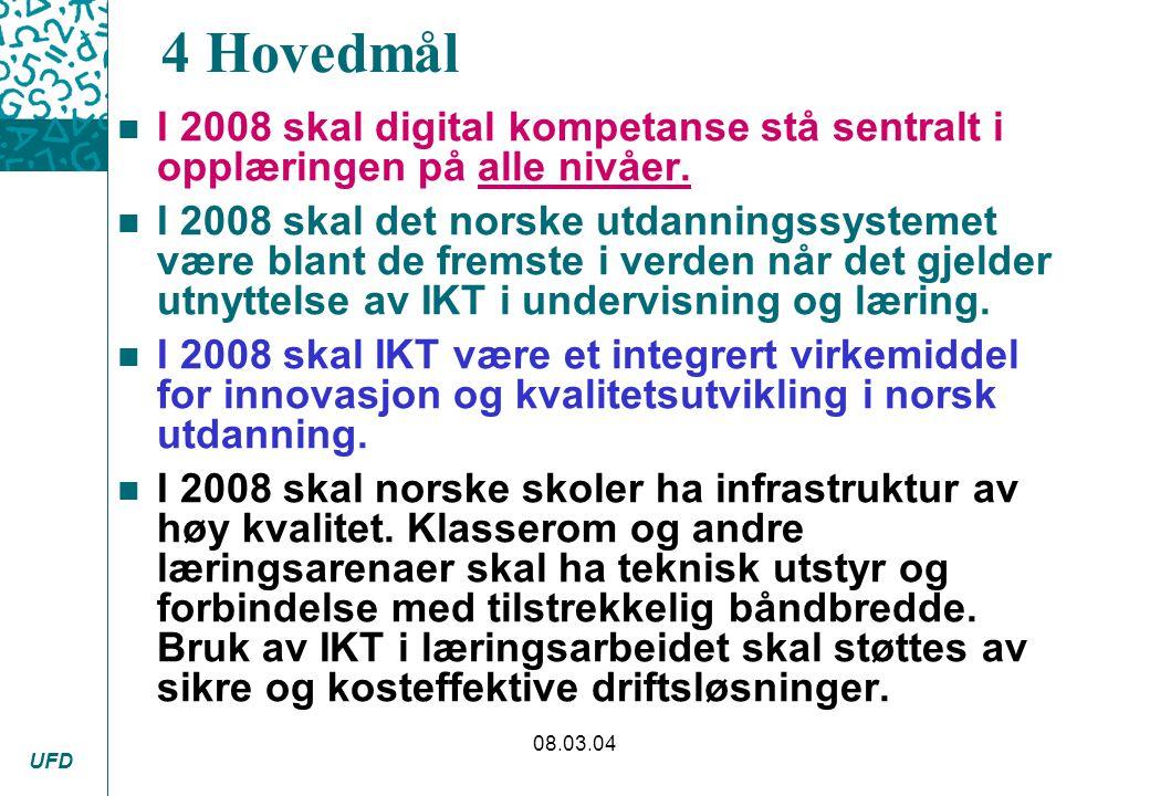 UFD 08.03.04 4 Hovedmål n I 2008 skal digital kompetanse stå sentralt i opplæringen på alle nivåer. n I 2008 skal det norske utdanningssystemet være b