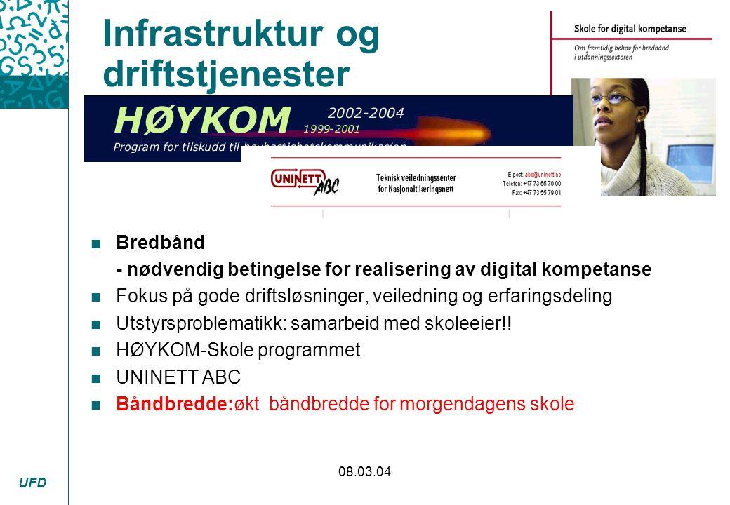 UFD 08.03.04 Infrastruktur og driftstjenester n Bredbånd - nødvendig betingelse for realisering av digital kompetanse n Fokus på gode driftsløsninger,