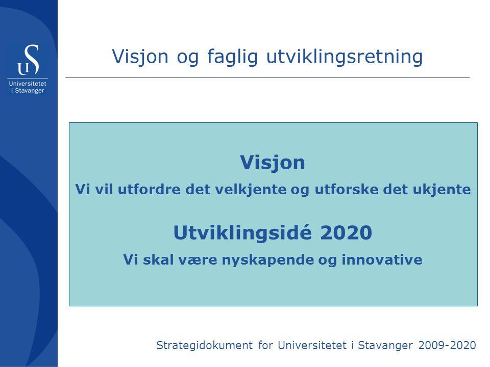 Visjon og faglig utviklingsretning Visjon Vi vil utfordre det velkjente og utforske det ukjente Utviklingsidé 2020 Vi skal være nyskapende og innovati