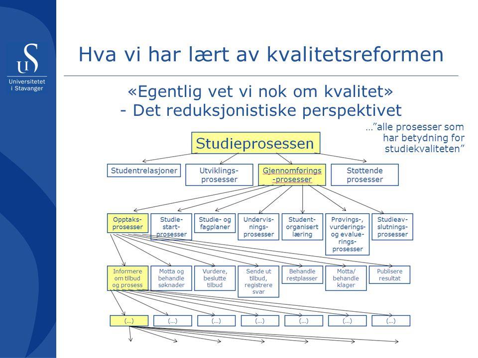 """Hva vi har lært av kvalitetsreformen «Egentlig vet vi nok om kvalitet» - Det reduksjonistiske perspektivet …""""alle prosesser som har betydning for stud"""