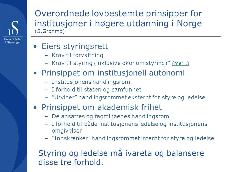 Overordnede lovbestemte prinsipper for institusjoner i høgere utdanning i Norge (S.Grønmo) •Eiers styringsrett –Krav til forvaltning –Krav til styring