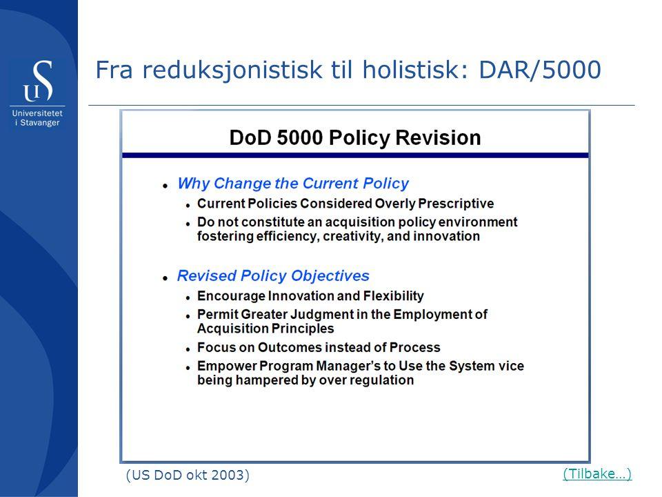 Fra reduksjonistisk til holistisk: DAR/5000 (Tilbake…) (US DoD okt 2003)