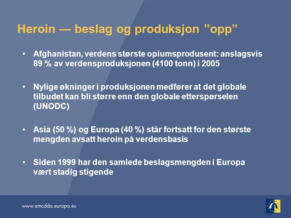 """Heroin — beslag og produksjon """"opp"""" •Afghanistan, verdens største opiumsprodusent: anslagsvis 89 % av verdensproduksjonen (4100 tonn) i 2005 •Nylige ø"""