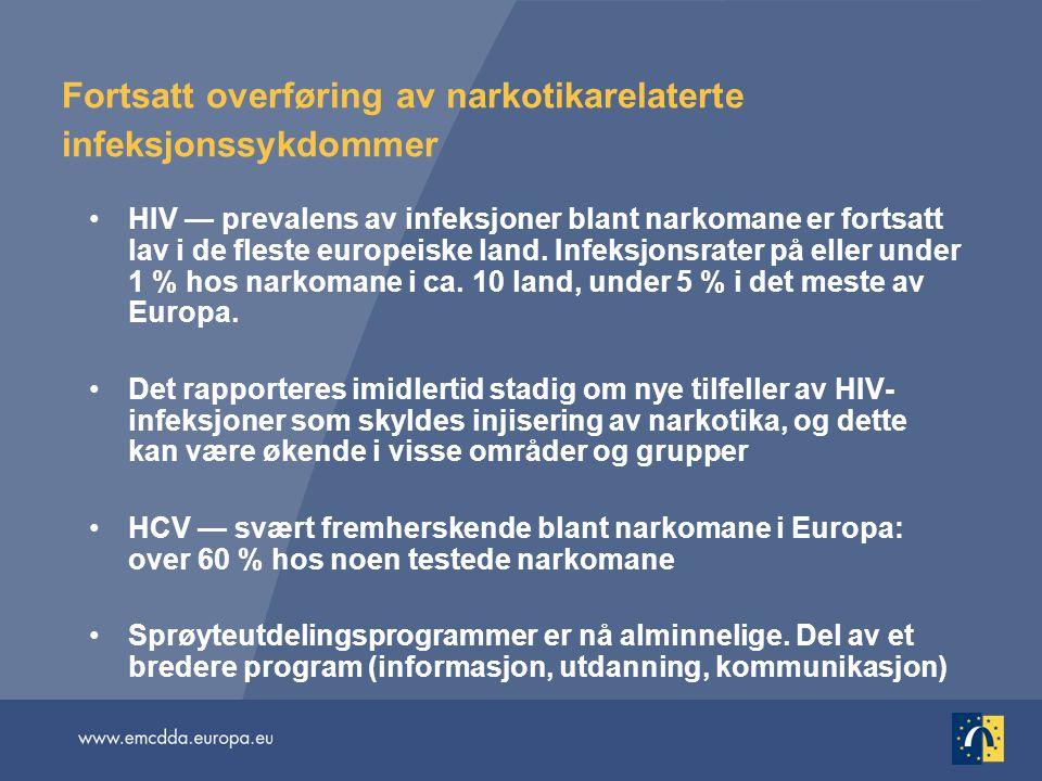 Fortsatt overføring av narkotikarelaterte infeksjonssykdommer •HIV — prevalens av infeksjoner blant narkomane er fortsatt lav i de fleste europeiske l