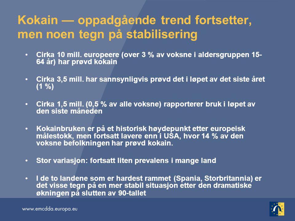 Kokain — oppadgående trend fortsetter, men noen tegn på stabilisering •Cirka 10 mill. europeere (over 3 % av voksne i aldersgruppen 15- 64 år) har prø