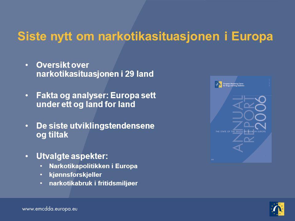 Siste nytt om narkotikasituasjonen i Europa •Oversikt over narkotikasituasjonen i 29 land •Fakta og analyser: Europa sett under ett og land for land •