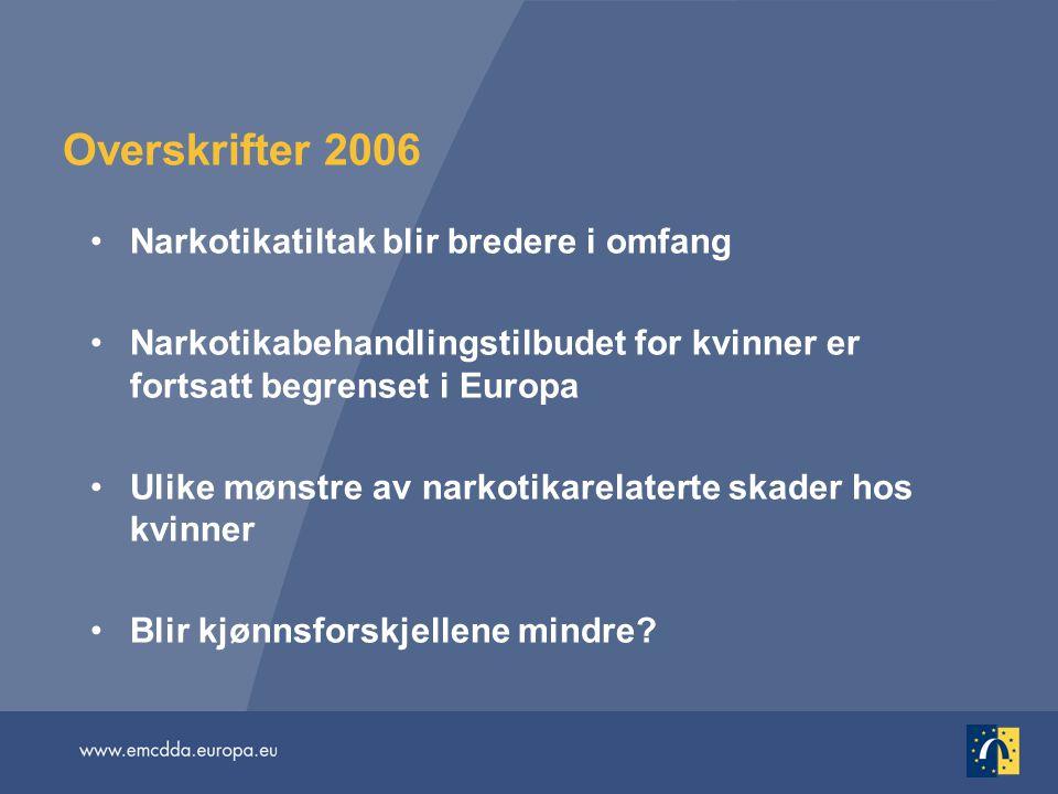 Overskrifter 2006 •Narkotikatiltak blir bredere i omfang •Narkotikabehandlingstilbudet for kvinner er fortsatt begrenset i Europa •Ulike mønstre av na
