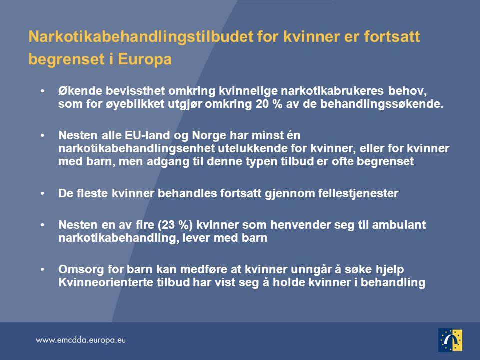 Narkotikabehandlingstilbudet for kvinner er fortsatt begrenset i Europa •Økende bevissthet omkring kvinnelige narkotikabrukeres behov, som for øyeblik