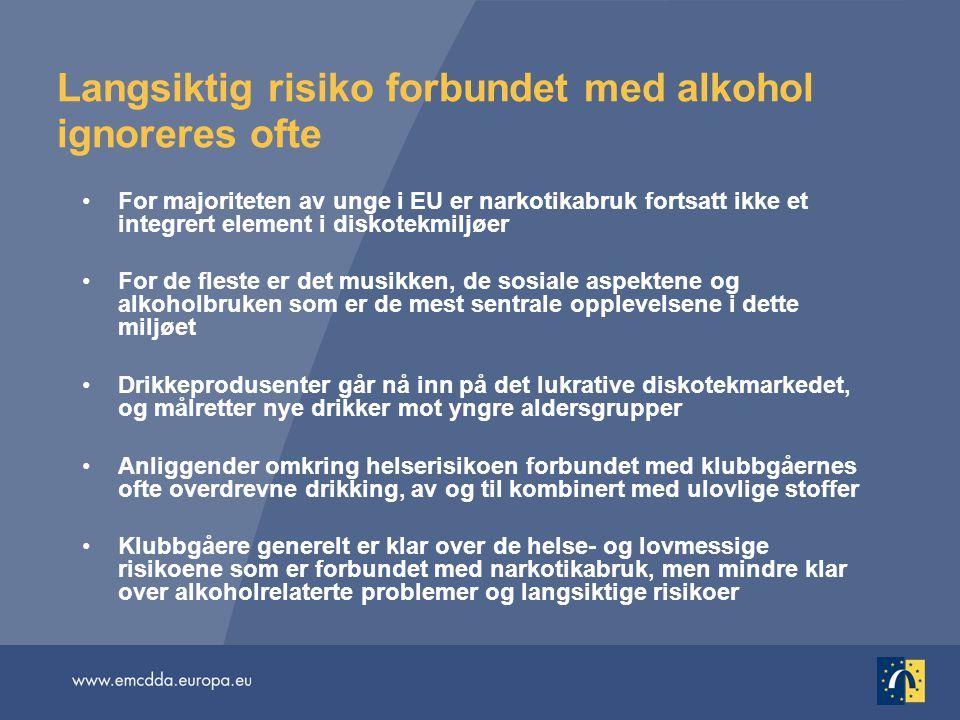 Langsiktig risiko forbundet med alkohol ignoreres ofte •For majoriteten av unge i EU er narkotikabruk fortsatt ikke et integrert element i diskotekmil