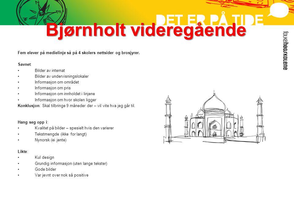 Bjørnholt videregående Fem elever på medielinje så på 4 skolers nettsider og brosjyrer.
