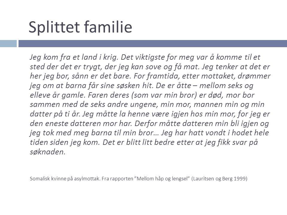 Splittet familie Jeg kom fra et land i krig. Det viktigste for meg var å komme til et sted der det er trygt, der jeg kan sove og få mat. Jeg tenker at