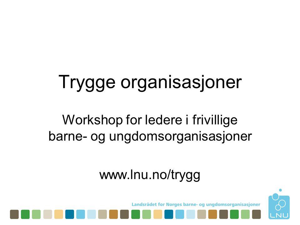 Trygge organisasjoner Workshop for ledere i frivillige barne- og ungdomsorganisasjoner www.lnu.no/trygg
