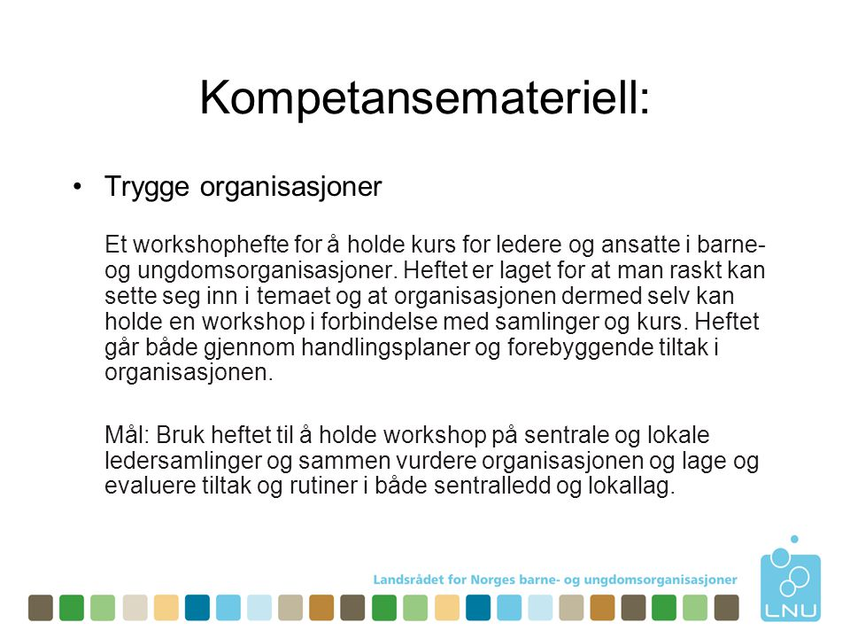 Trygghetstiltak i organisasjonen •Idémyldring om tiltak 4 ulike forslag til gruppearbeidet.