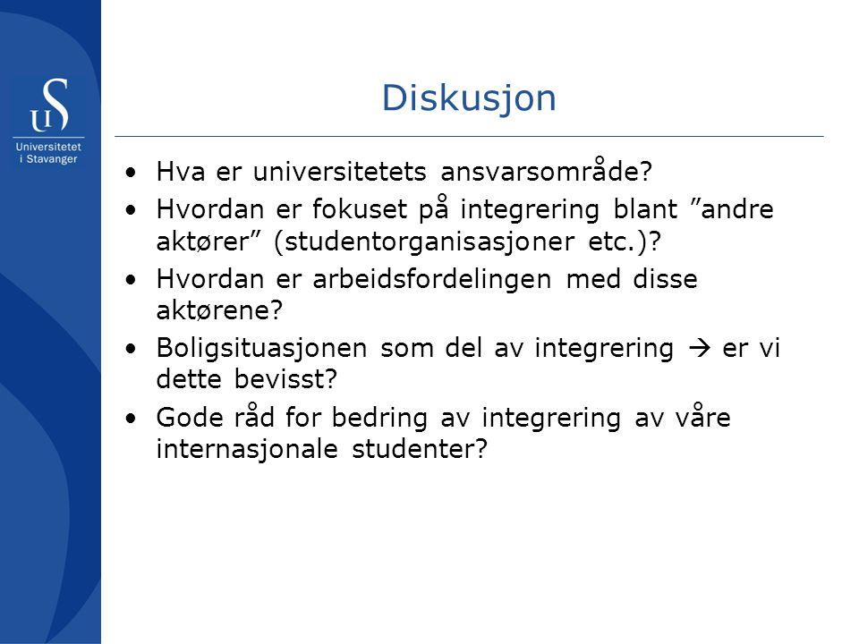 Diskusjon •Hva er universitetets ansvarsområde.