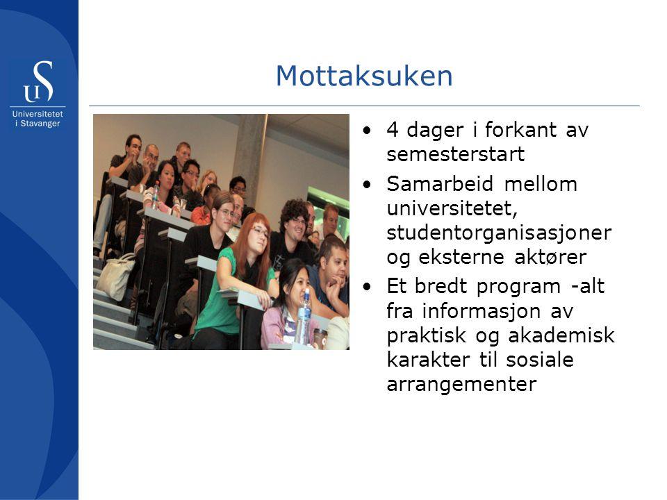 Mottaksuken og integrering • Mottaksuken – en arena for de internasjonale studentenes integrering • Integrering – en lang og bredspektret prosess