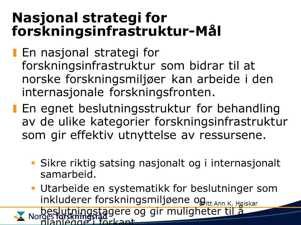 Nasjonal strategi for forskningsinfrastruktur-Mål En nasjonal strategi for forskningsinfrastruktur som bidrar til at norske forskningsmiljøer kan arbeide i den internasjonale forskningsfronten.