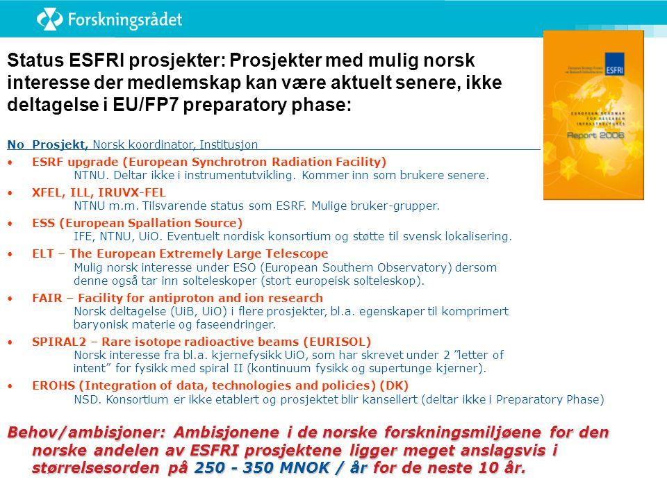Status ESFRI prosjekter: Prosjekter med mulig norsk interesse der medlemskap kan være aktuelt senere, ikke deltagelse i EU/FP7 preparatory phase: NoProsjekt, Norsk koordinator, Institusjon •ESRF upgrade (European Synchrotron Radiation Facility) NTNU.