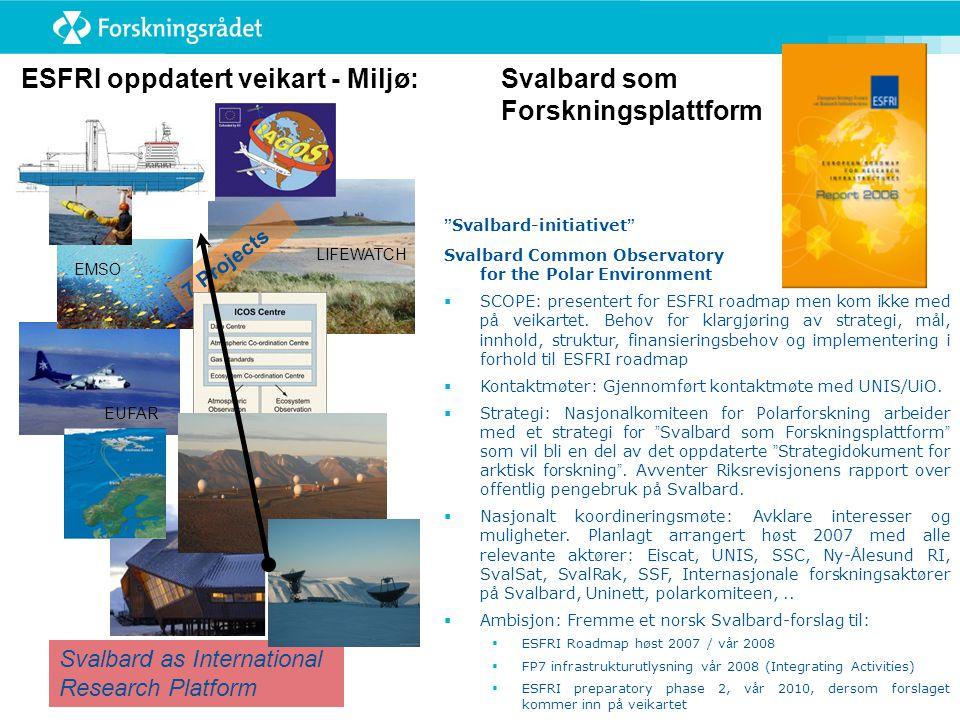 ESFRI oppdatert veikart - Miljø: Svalbard som Forskningsplattform Svalbard-initiativet Svalbard Common Observatory for the Polar Environment  SCOPE: presentert for ESFRI roadmap men kom ikke med p å veikartet.