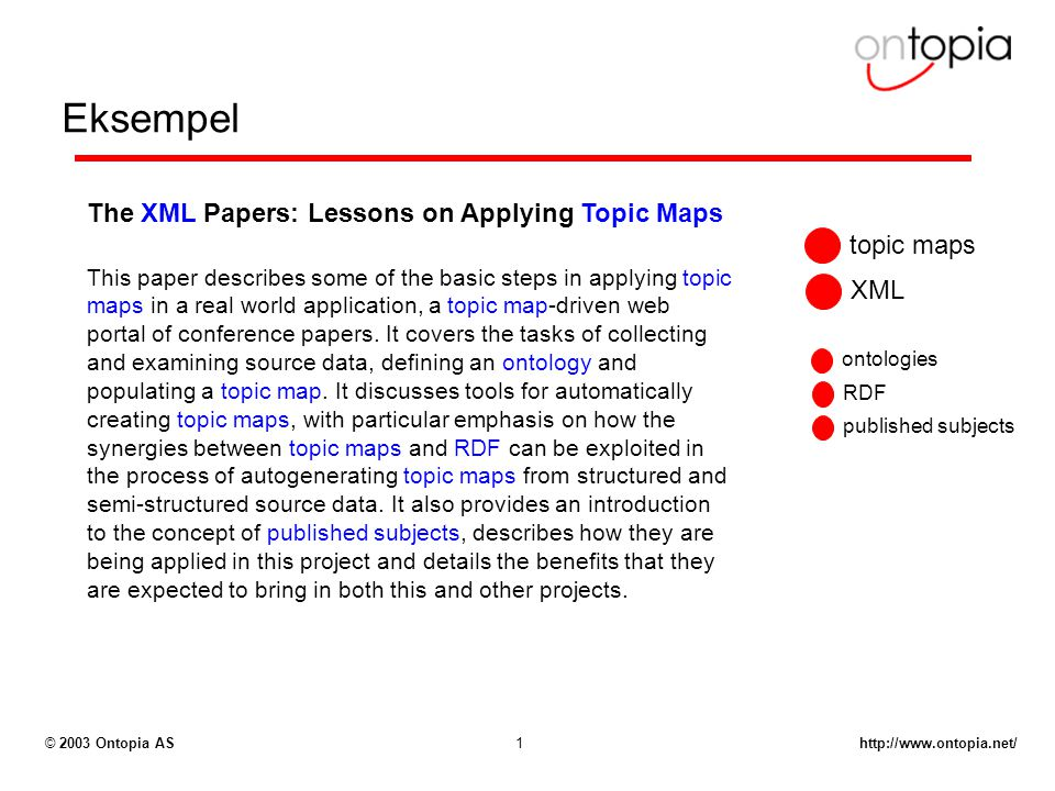 http://www.ontopia.net/© 2003 Ontopia AS1 Eksempel The XML Papers: Lessons on Applying Topic Maps This paper describes some of the basic steps in applying topic maps in a real world application, a topic map-driven web portal of conference papers.