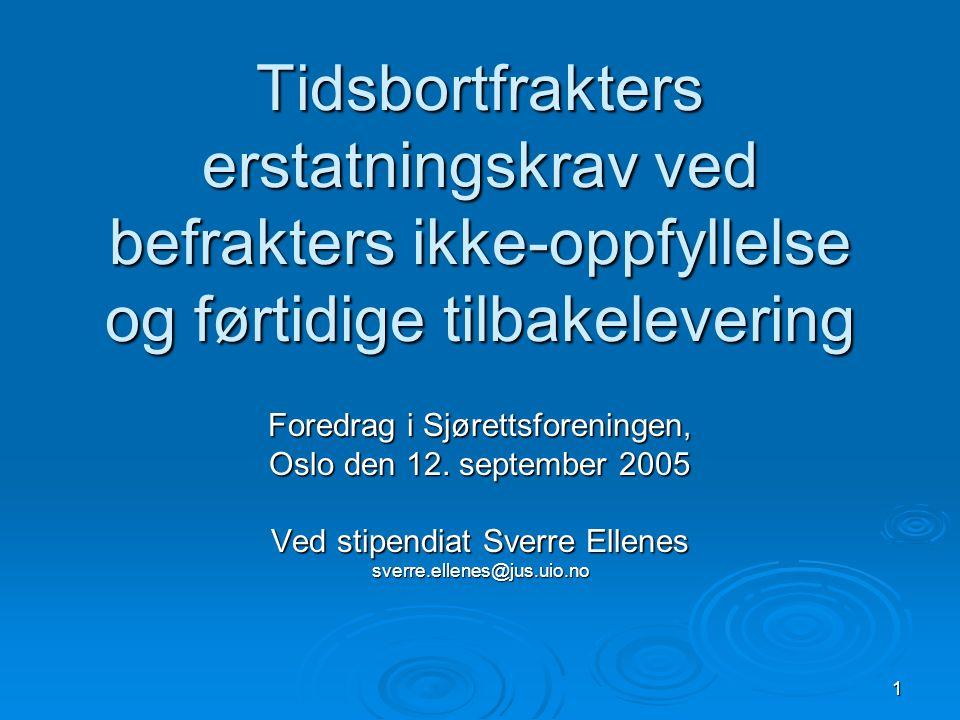 1 Tidsbortfrakters erstatningskrav ved befrakters ikke-oppfyllelse og førtidige tilbakelevering Foredrag i Sjørettsforeningen, Oslo den 12. september