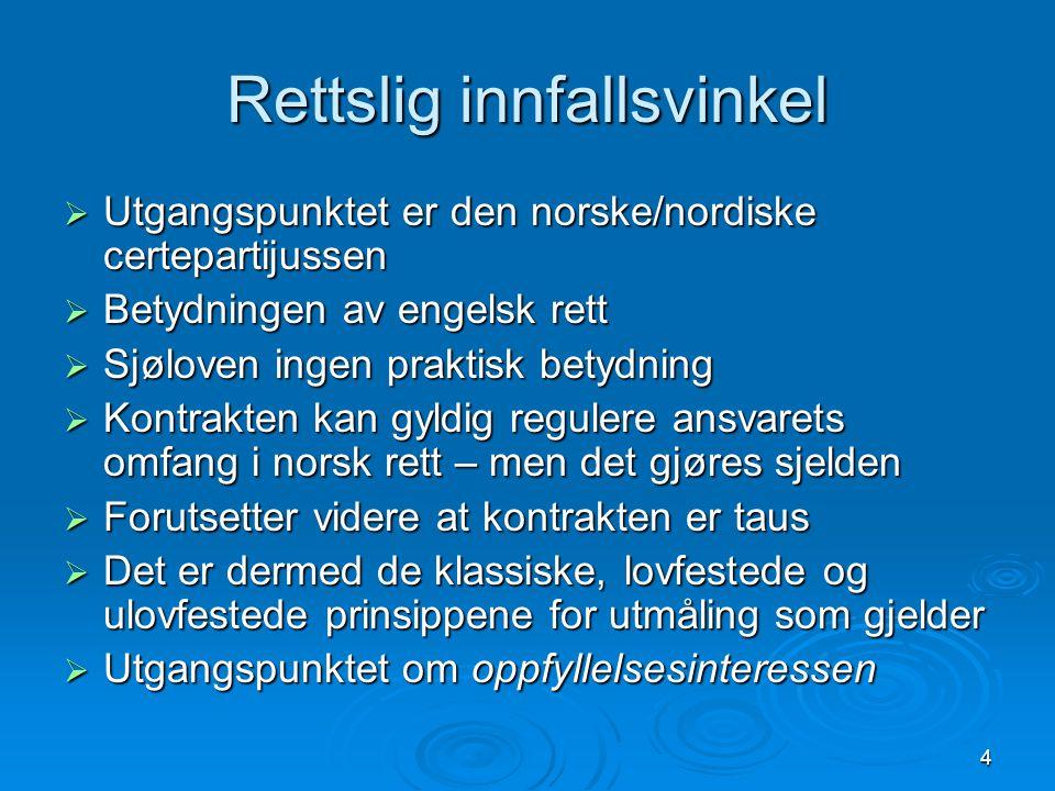 4 Rettslig innfallsvinkel  Utgangspunktet er den norske/nordiske certepartijussen  Betydningen av engelsk rett  Sjøloven ingen praktisk betydning 