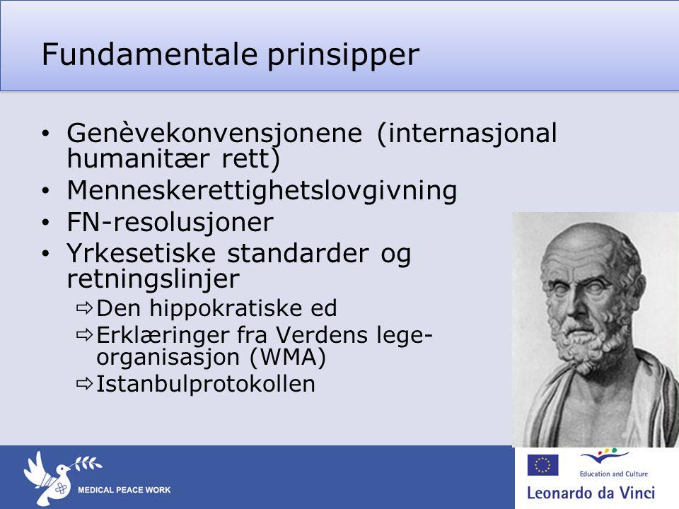 Fundamentale prinsipper • Genèvekonvensjonene (internasjonal humanitær rett) • Menneskerettighetslovgivning • FN-resolusjoner • Yrkesetiske standarder