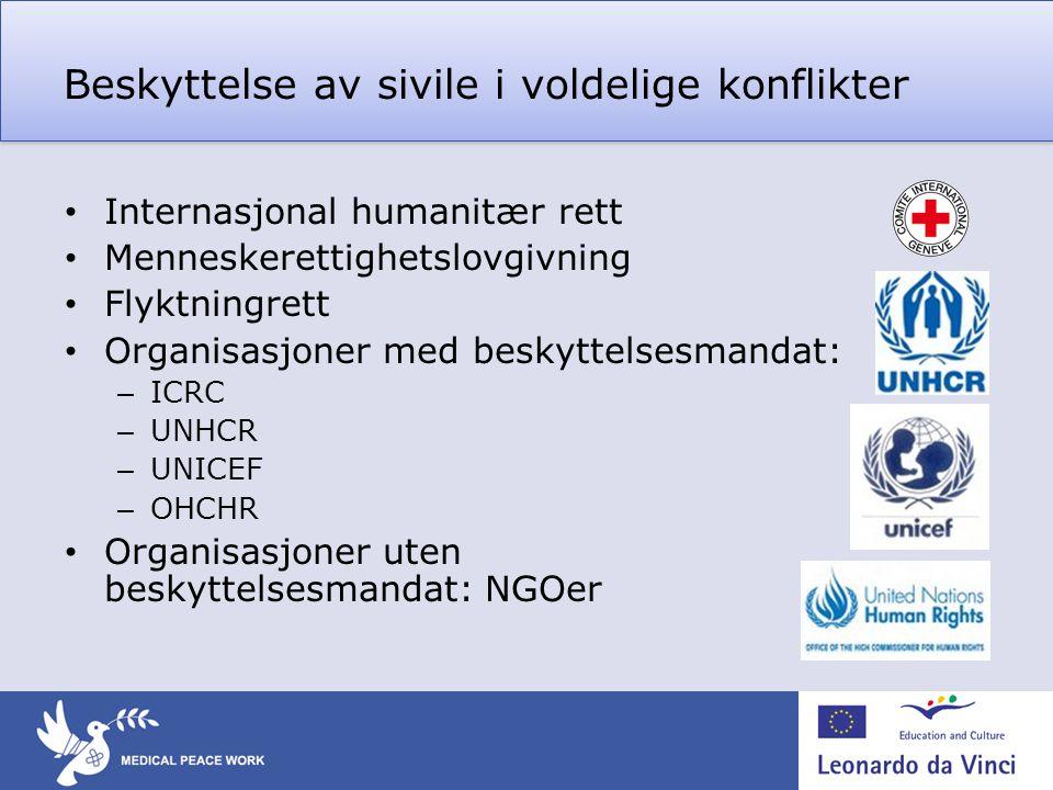 Beskyttelse av sivile i voldelige konflikter • Internasjonal humanitær rett • Menneskerettighetslovgivning • Flyktningrett • Organisasjoner med beskyt