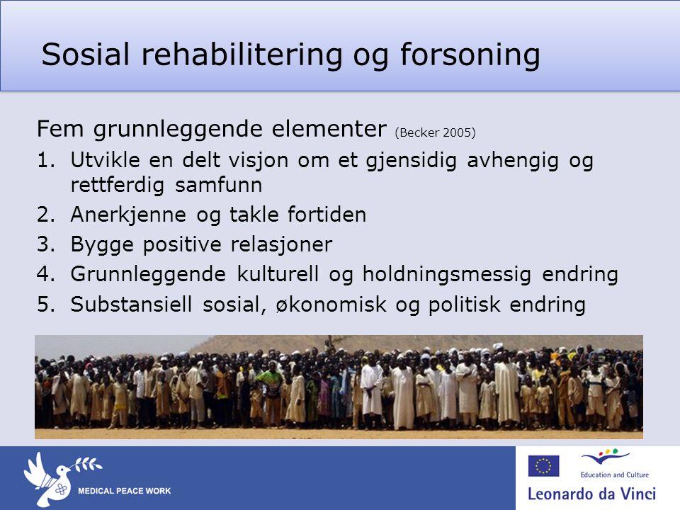 Sosial rehabilitering og forsoning Fem grunnleggende elementer (Becker 2005) 1.Utvikle en delt visjon om et gjensidig avhengig og rettferdig samfunn 2