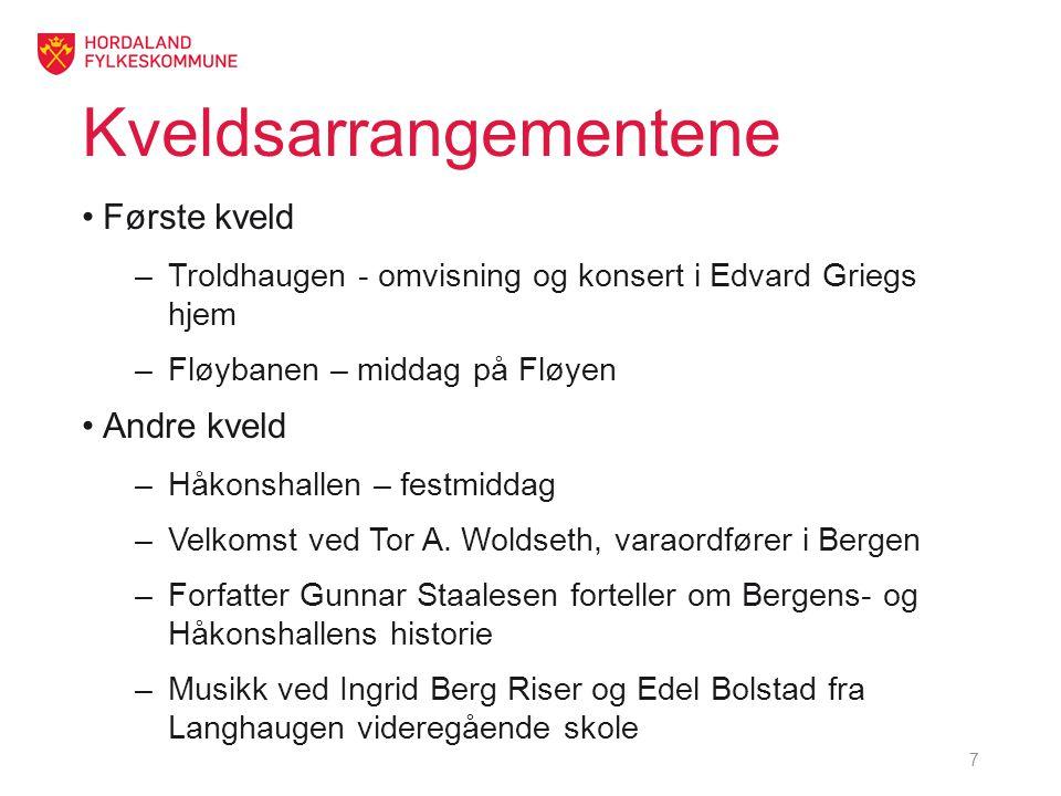 Kveldsarrangementene •Første kveld –Troldhaugen - omvisning og konsert i Edvard Griegs hjem –Fløybanen – middag på Fløyen •Andre kveld –Håkonshallen – festmiddag –Velkomst ved Tor A.