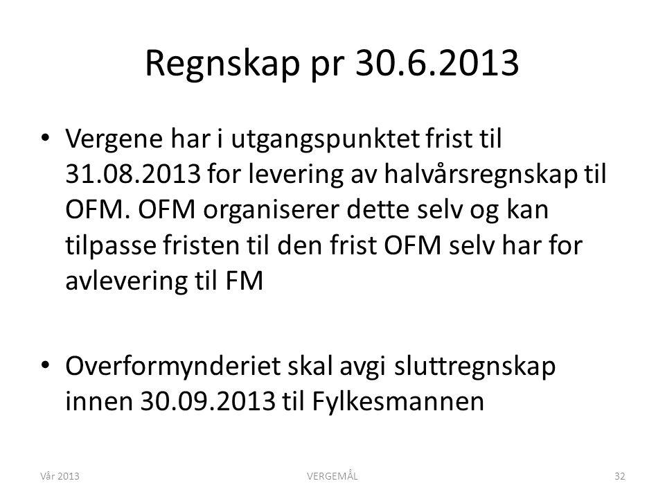 Regnskap pr 30.6.2013 • Vergene har i utgangspunktet frist til 31.08.2013 for levering av halvårsregnskap til OFM. OFM organiserer dette selv og kan t