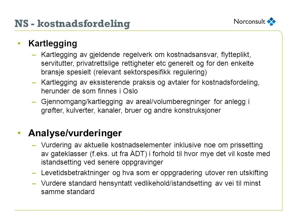 NS - kostnadsfordeling •Kartlegging –Kartlegging av gjeldende regelverk om kostnadsansvar, flytteplikt, servitutter, privatrettslige rettigheter etc g