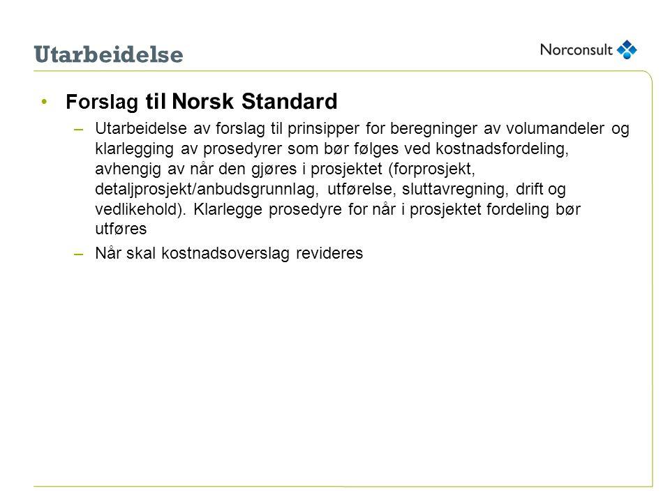 Utarbeidelse •Forslag til Norsk Standard –Utarbeidelse av forslag til prinsipper for beregninger av volumandeler og klarlegging av prosedyrer som bør