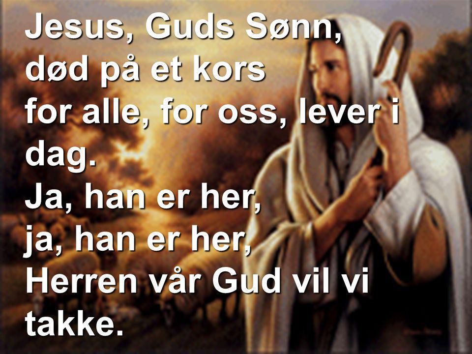 Jesus, Guds Sønn, død på et kors for alle, for oss, lever i dag. Ja, han er her, ja, han er her, Herren vår Gud vil vi takke.