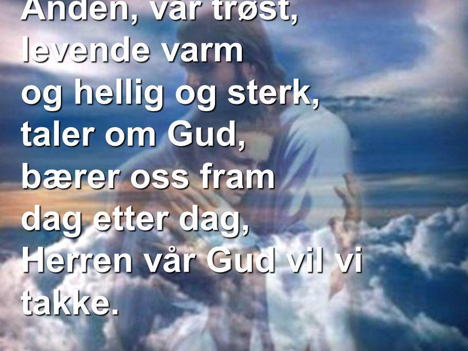 Ånden, vår trøst, levende varm og hellig og sterk, taler om Gud, bærer oss fram dag etter dag, Herren vår Gud vil vi takke.
