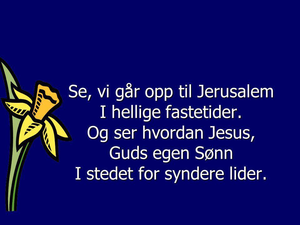 Se, vi går opp til Jerusalem I hellige fastetider. Og ser hvordan Jesus, Guds egen Sønn I stedet for syndere lider.