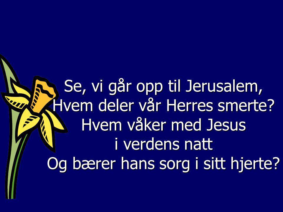 Se, vi går opp til Jerusalem, Hvem deler vår Herres smerte? Hvem våker med Jesus i verdens natt Og bærer hans sorg i sitt hjerte?