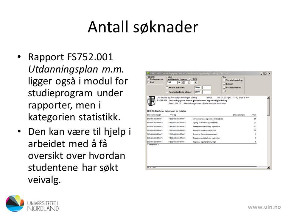 Antall søknader • Rapport FS752.001 Utdanningsplan m.m.