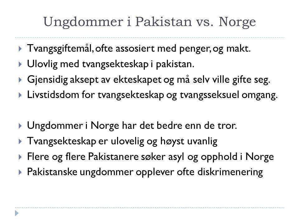 Ungdommer i Pakistan vs. Norge  Tvangsgiftemål, ofte assosiert med penger, og makt.  Ulovlig med tvangsekteskap i pakistan.  Gjensidig aksept av ek
