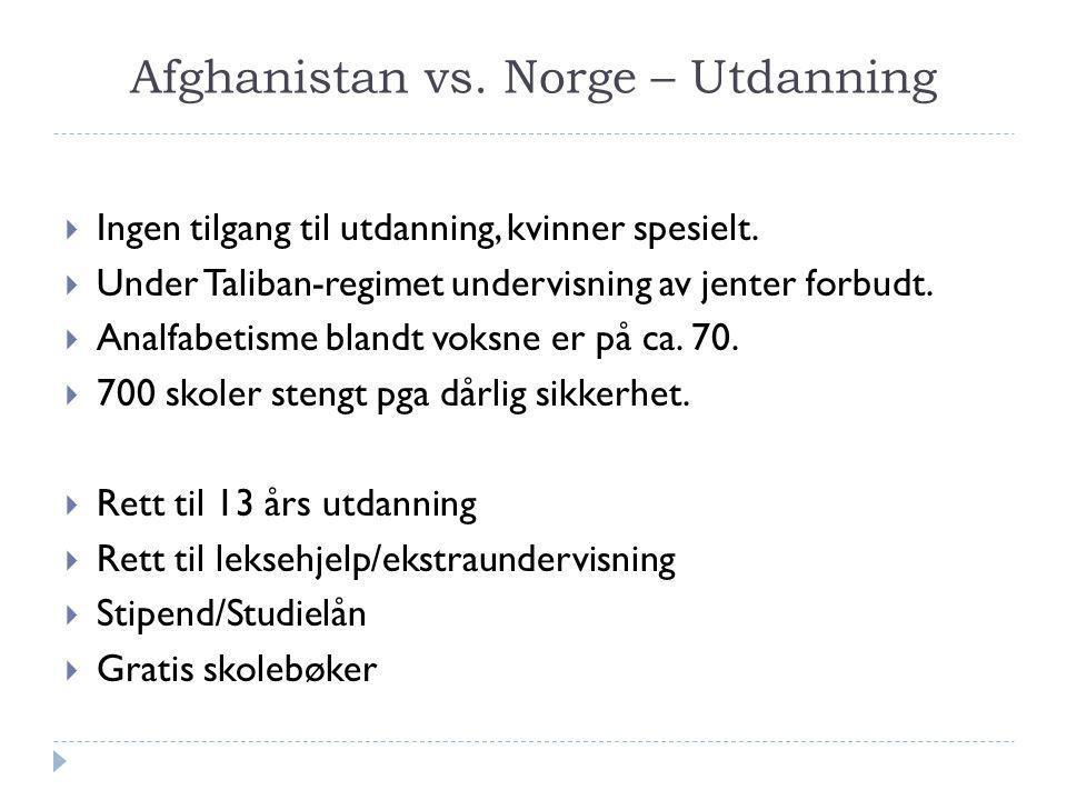 Afghanistan vs. Norge – Utdanning  Ingen tilgang til utdanning, kvinner spesielt.  Under Taliban-regimet undervisning av jenter forbudt.  Analfabet