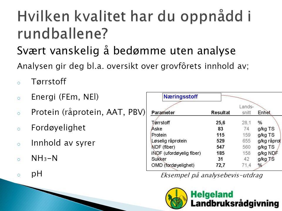 Svært vanskelig å bedømme uten analyse Analysen gir deg bl.a. oversikt over grovfôrets innhold av; o Tørrstoff o Energi (FEm, NEl) o Protein (råprotei
